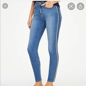 LOFT high rise skinny jeans with racing stripe